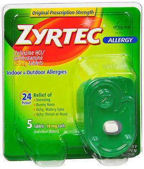 Zyrtec Allergy 10 mg Tablets Blister Pack - 5 TB