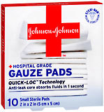 "Johnson & Johnson First Aid Gauze Pads 2"""" X 2"""" - 10 Each"