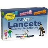 E-Z Ject Lancets Fun Color - 100 EA