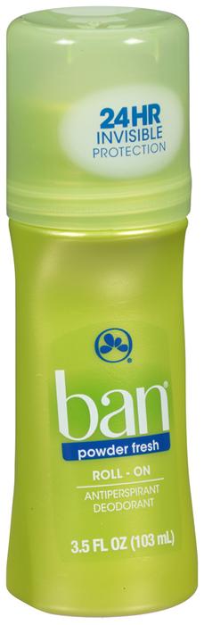 Ban Classic Anti-Perspirant Deodorant Original Roll-On Powder Fresh - 3.5 OZ
