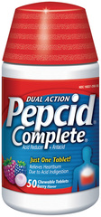 Pepcid Acid Reducer + Antacid with Dual Action, Berry Flavored  - 50ea