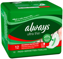 Always Ultra Thin Pads Maximum Protection Flexi-Wings - 12 Pack x 12 EA