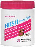 5 Day Anti-Perspirant Deodorant Pads Regular Scent - 75 Pads
