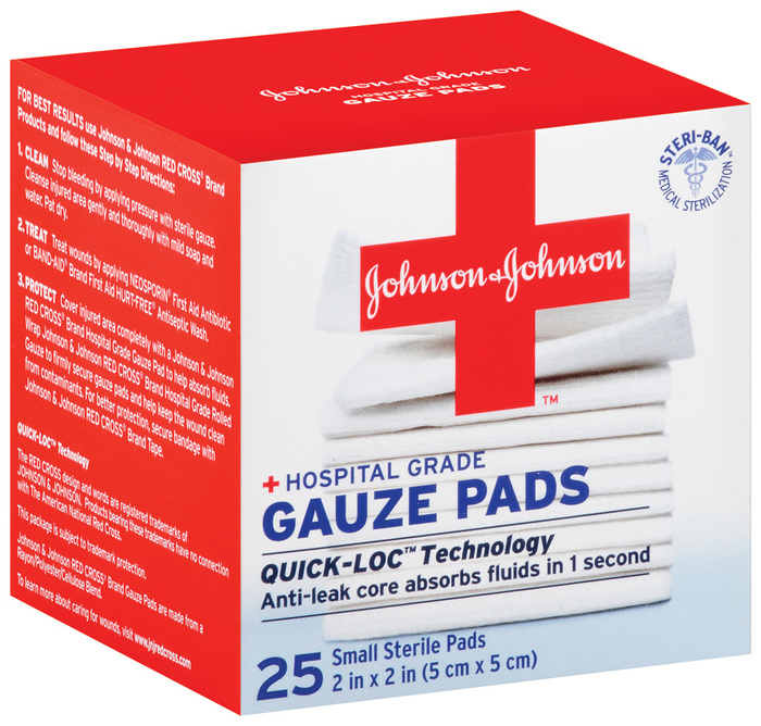 Johnson & Johnson First Aid Small Gauze Pads - 25 Pads