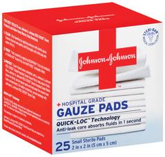 Johnson & Johnson First Aid Small Gauze Pads - 25 Pads