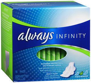 Always Infinity Maxi Pads Heavy Flow - 12 Pack x 16 EA