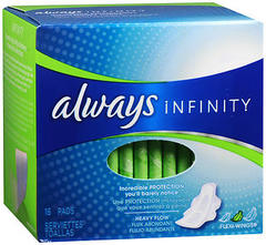 Always Infinity Maxi Pads Heavy Flow - 12 Pack x 16 EA