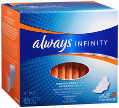 Always Infinity Maxi Pads Overnight - 12 x 14 pack (168 units total)