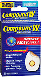 Compound W Wart Remover Pads for Plantar Warts, Maximum Strength  - 20ea