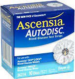 Ascensia Blood Glucose Test Strips, 3627A  - 10ea