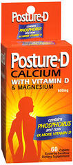 Posture-D Calcium Supplement with Vitamin D & Magnesium, 600 mg, Easier-to-Swallow Caplets  - 60ea