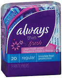 Always Pantiliners Fresh Thin Regular Scented - 24 Pack x 20 Count