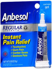 Anbesol Oral Anesthetic, Regular Strength, Cool Mint Gel  - 0.25oz