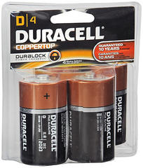 Duracell PowerCheck D Alkaline Batteries 4-Pack - 4 EA