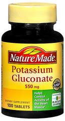 Nature Made Potassium Gluconate 550 mg Tablets - 100 Tablets