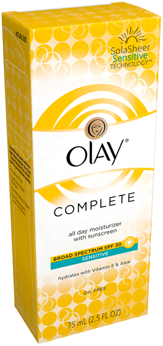 OLAY Complete Defense Daily UV Moisturizer SPF 30 Sensitive Skin  -  2.5 OZ