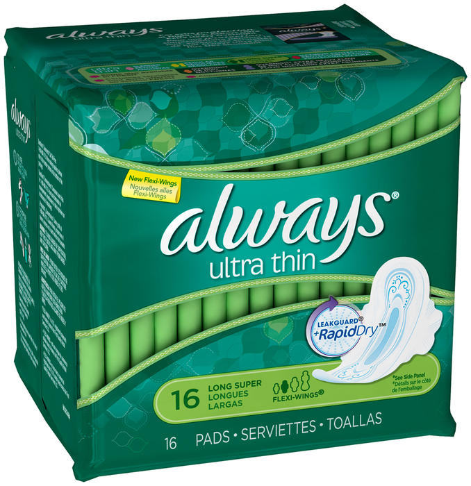 Always Maxi Pads Thin Ultra Super Flexi-Wings 12X16 Pack - 16 Each