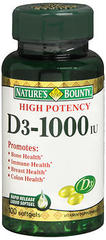 Nature's Bounty Vitamin D 1000 IU Tablets  -  100 Tablets