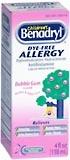 Benadryl Dye-Free Allergy, Bubble Gum, Liquid Medicine  - 4oz