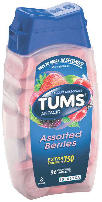 Tums Antacid/Calcium Supplement, Extra Strength, Assorted Berries, Chewable Tablets  - 96ea