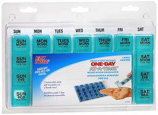 Ezy-Dose One-Day-At-A-Time Medication Organizer Four-A-Day Weekly Large