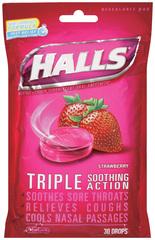 Halls Cough Suppressant Drops, Strawberry  - 30ea