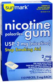 Sunmark Nicotine Polacrilex Gum USP 2 mg Original Flavor - 110 Each