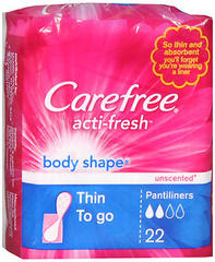 Carefree Acti-Fresh Body Shape Pantiliners Thin Unscented - 22 EA [Case of 8]