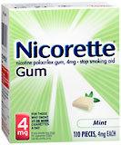 Nicorette Stop Smoking Aid, 4 mg, Gum, Mint, Starter Kit, Bonus  - 110ea