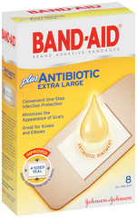 BAND-AID Plus Antibiotic Bandages Extra Large All One Size - 8 EA