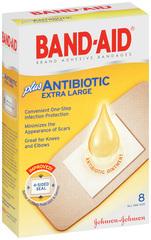 BAND-AID Plus Antibiotic Bandages Extra Large All One Size - 8 EA