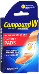 Compound W Wart Remover Pads for Common Warts, Maximum Strength  - 14ea