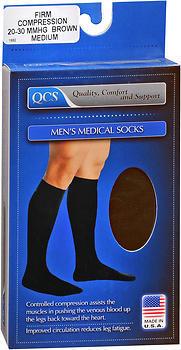 QCS Men's Medical Legwear Firm Brown Medium