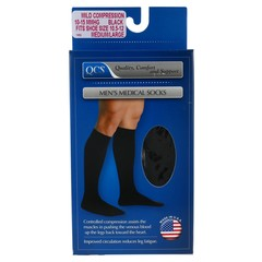 QCS Men's Medical Socks Mild Black Large  - 1 Each
