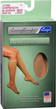 Loving Comfort Support Knee High Stockings X-Firm Open Toe Beige Large - 1 Each