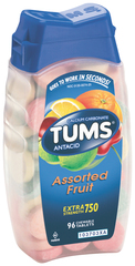 Tums Antacid/Calcium Supplement, Extra Strength, Assorted Fruit, Chewable Tablets  - 96ea