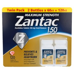 ZANTAC 150 - MAXIMUM STRENGTH ACID REDUCER - 140 RANITIDINE TABLETS (TWIN PACK: 2 BOTTLES OF 70 TB EACH)