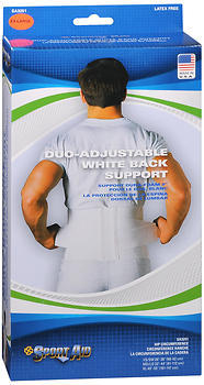 Sport Aid Duo-Adjustable White Back Support XL - 1 Each