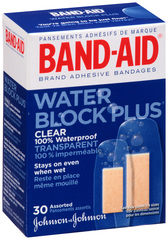 Band-Aid Adhesive Bandages, Clear Water Block Plus, Assorted Sizes  - 30ea