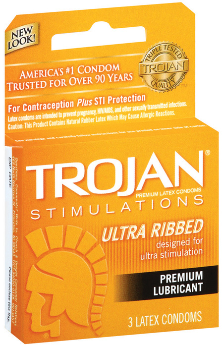 Trojan Condoms Ribbed Lubricated Latex - 3 Each