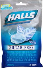 Halls Cough Suppressant/Oral Anesthetic Drops, Mountain Menthol, Sugar Free  - 25ea
