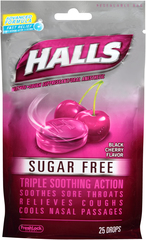 Halls Cough Suppressant/Oral Anesthetic Drops, Black Cherry, Sugar Free  - 25ea