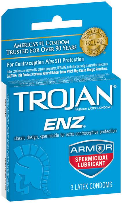 Trojan ENZ Spermicidal Lubricated - 3 Latex Condoms