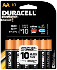 Duracell Coppertop Alkaline Batteries 1.5 Volt AA - 10 Each