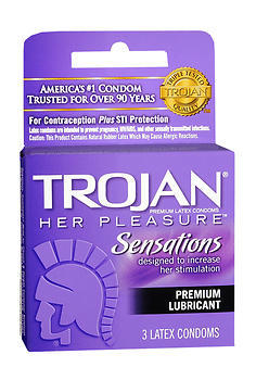 TROJAN Her Pleasure Sensations Lubricated Premium Latex Condoms - 3 Each