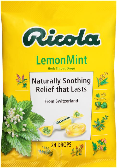 Ricola Throat Drops Natural Lemon Mint - 24 Each