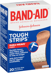 Band-Aid Adhesive Bandages, Heavy Duty Fabric Protection  - 20ea