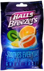 Halls Breezers Pectin Throat Drops Tropical Chill - 25 Each