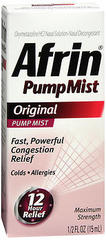 Afrin Nasal Decongestant, 12 Hour Pump Mist, Original  - 0.5oz