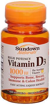 Sundown Naturals High Potency D3 Vitamin D 1000 IU Softgels - 100 TB